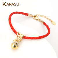 Fashion Lucky Gold Plated Love Heart Tiny Austrian Crystal Chicken Shape Pendant Red Leather Charm Bracelet