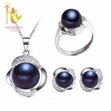 [Nymph] conjunto de joyería de perlas de boda joyería fina real de agua dulce collar de perlas colgante pendientes de moda para woment20