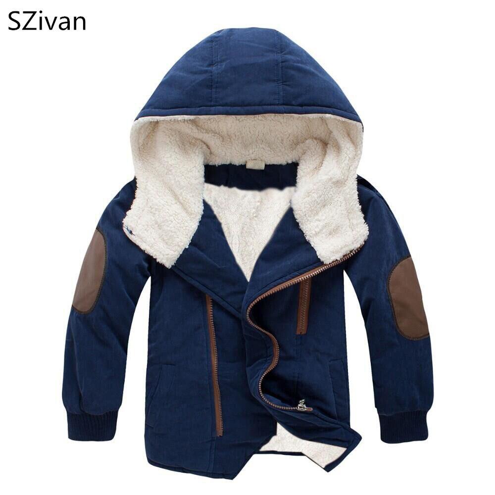Для мальчиков одежда из хлопка большие дети ягненка пальто мальчиков толще плюс бархат с капюшоном длинные Хлопчатобумажная Куртка