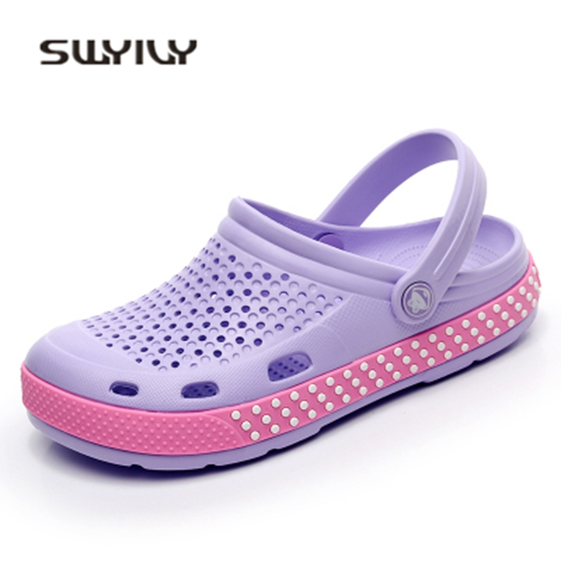 SWYIYV Women's Sandals Hole Flat Summer Beach Shoes Woman Clogs Casual Garden Shoes 2018 Lady Comfortable 44 Size Hole Sandals summer 2017 new color crystal bling sandals woman anti skid hole jelly shoes flat garden beach rain shoes