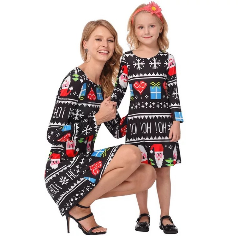 Christmas Mommy And Daughter Dress Family Matching Mother Daughter Dresses Clothes Print Girls Dress Kids Parent Clothes