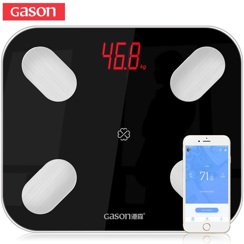 GASON S4 Smart Body Fat Scales Floor Electronic LED Digital Weight Bathroom Composition Monitor Bluetooth 4.0 APP Android or IOSGASON S4 Smart Body Fat Scales Floor Electronic LED Digital Weight Bathroom Composition Monitor Bluetooth 4.0 APP Android or IOS