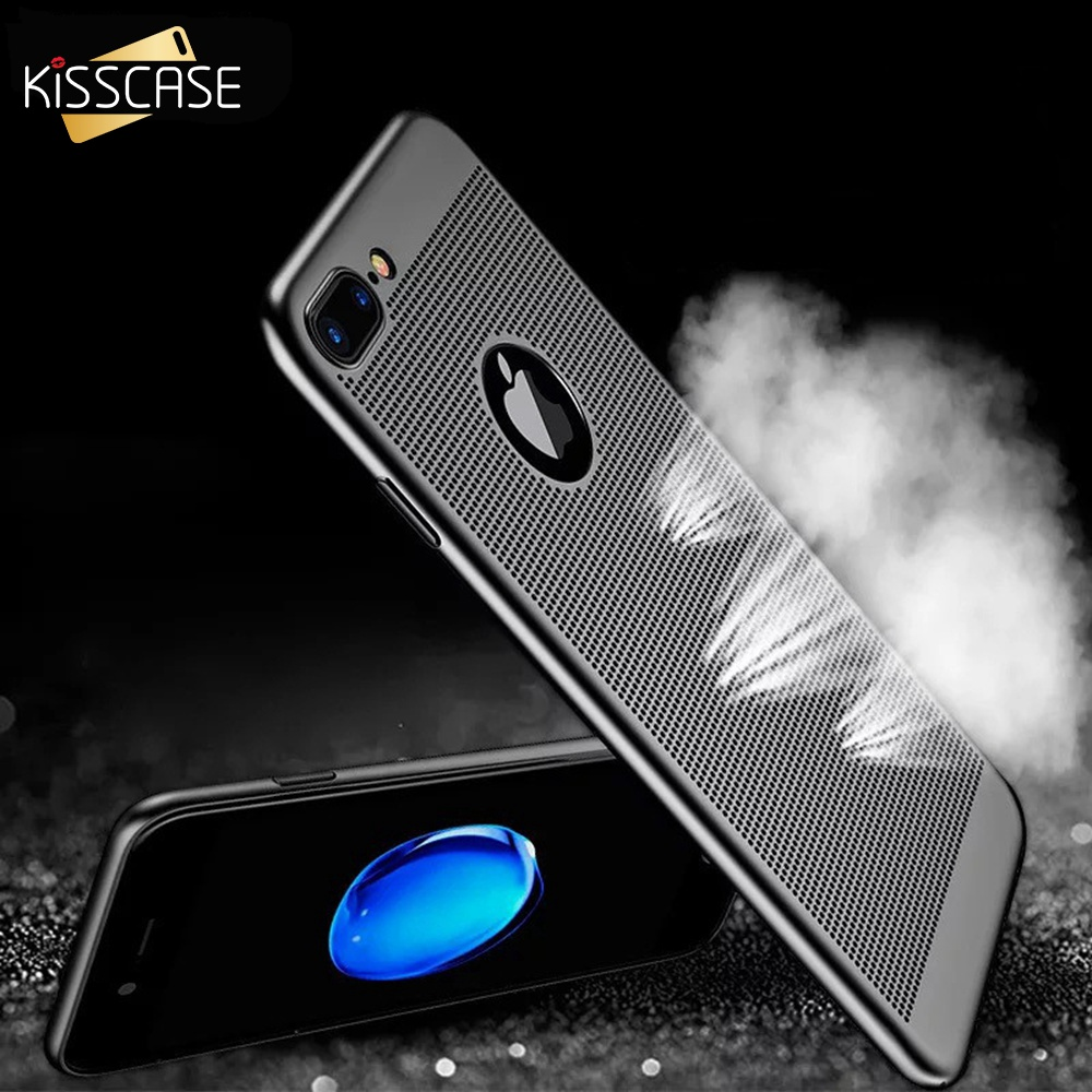 KISSCASE Phone Case For iPhone 5s 5 SE iPhone X 7 6 6s Plus Hollow Breathable Plastic Back Cover For iPhone X Cases Accessories