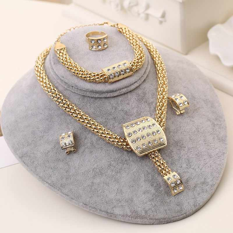 Classic Design African Gold-color Necklace Set Women Crystal Bridal Wedding Jewelry Set Luxury Jewellery Set