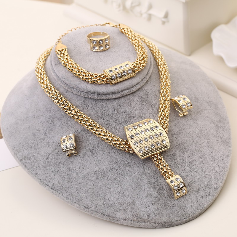 Classic Design African Gold-color Necklace Set Women Crystal Bridal Wedding Jewelry Set Lu
