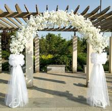 New artificial flower cherry blossom with metal wedding iron arch stand full +arch shelf DIY window party decor