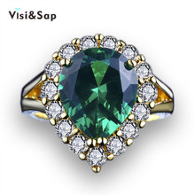 Visisap Luxury Palace Russia Ring 6ct Green Stone rings for women Wedding bands anel Yellow gold color Fashion jewelry VSR201