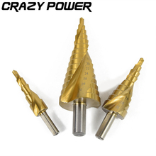 CRAZY POWER 3pcs Hex Hss High Speed Steel Titanium Coated Spiral Grooved Step Drill Bits Set Cone Drill Hole 1/4 Hex Shank