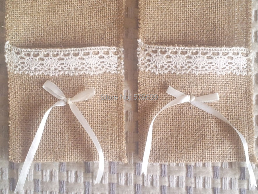 Whole Rustic Wedding Lace Burlap Silverware Holder Pocket Crafts Decor Kitchen Cutlery Knife Fork In Mats Pads From Home