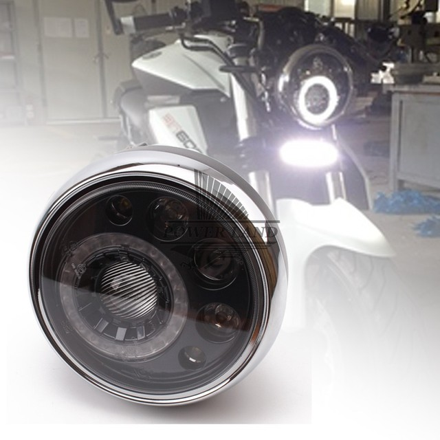 Universal motorcycle 7 black led round headlight vision lamp headlamp fit for triumph norton cafe