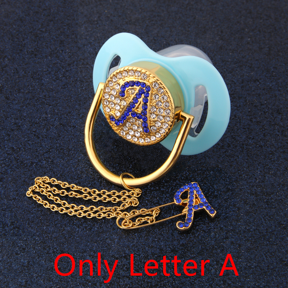 Elegant Blue Letter A Bling Pacifier Chain Mosaic Drill Dummy Diamond Pacifier Clip Baby Shower Gift