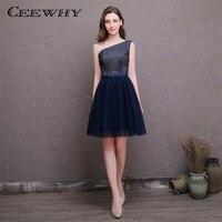 Ceewhy un hombro rayas azul marino formal del partido vestido de fiesta una línea vestido de coctel corto elegante novia banquete vestido formal