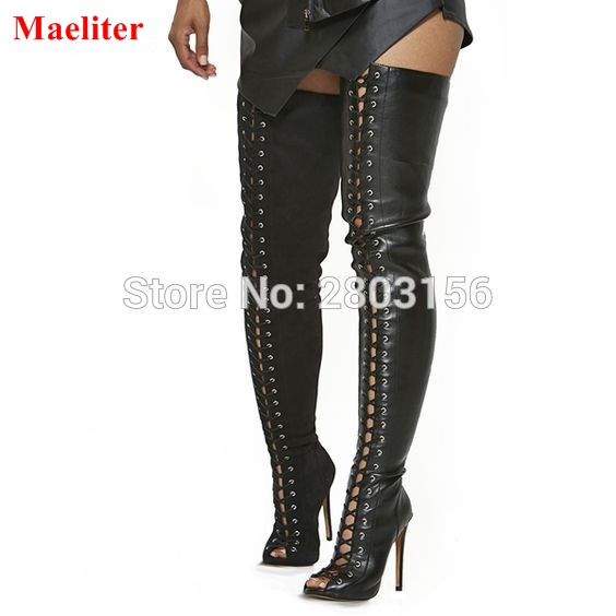 Hot Selling sexy black lace up thigh high boots open toe strappy gladiator shoes summer over the knee boots Feminina Bota sexy black high heels gladiator shoes woman peep toe lace up thigh high boots summer cut outs feminina bota over the knee sandal