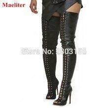 Vendendo Hot sexy black lace up coxa botas altas abertas toe de tiras gladiador sapatos de verão sobre o joelho botas Feminina Bota