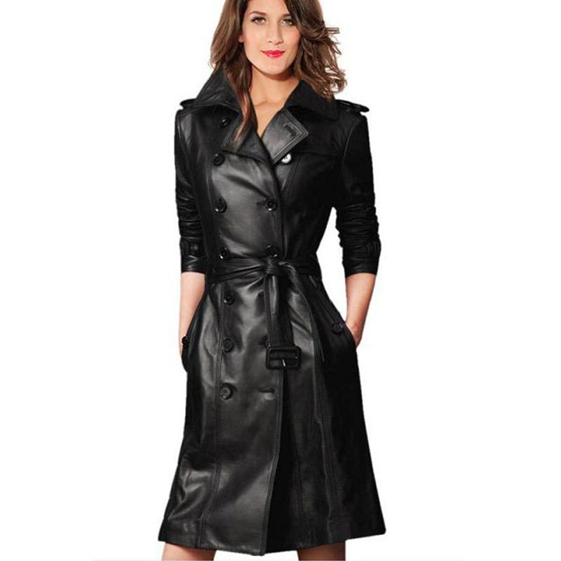 Popular Women Trench Coat Black Leather-Buy Cheap Women Trench ...