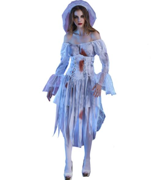 bloody Ghost Bride Costume Halloween Adult Women Scary Ghost Bride Cosplay Uniform Fantasia Fancy Dress long dresses A088