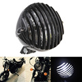 Black Motorcycle Cafe Racer Bike Bullet Halogen Headlight White Light Lamp Grill Cover For Harley Touring Chopper Bobber Custom