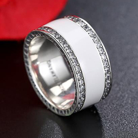 EVOJEW Orijinal 100% 925 Ayar Gümüş Radyant Kalpler, beyaz Emaye & Temizle CZ Geniş Bant Parmak Yüzük Kadın Düğün Takı
