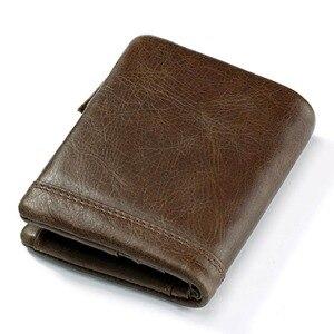 Image 2 - KAVIS Echtem Leder Brieftasche Männer Geldbörse Männlichen Cuzdan PORTFOLIO MANN Portomonee Kleine Mini Rfid Walet Tasche Mode Mann Vallet