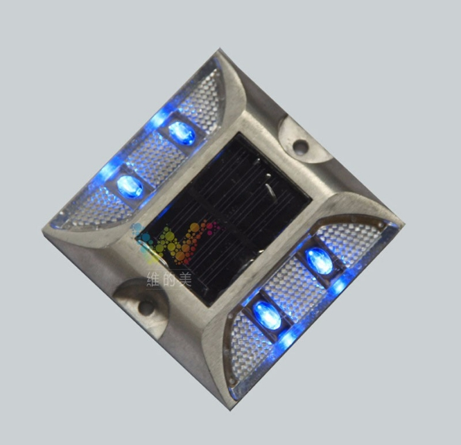 Roadway Safety Aluminium Alloy Super Bright Led Solar Road Stud Dock Pier Blue Light Easy And Simple To Handle