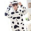 2016 Engraçado Vaca Conjuntos de Pijama Para As Mulheres Dos Desenhos Animados Onesies Pijama de Lã Quente Sleepwear Animal Um Pedaço Traje Adulto Atacado