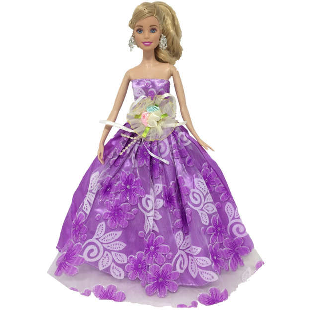 NK One Pcs Princess Purple Wedding Dress Noble Party Gown For Barbie Doll Fashion Design Outfit