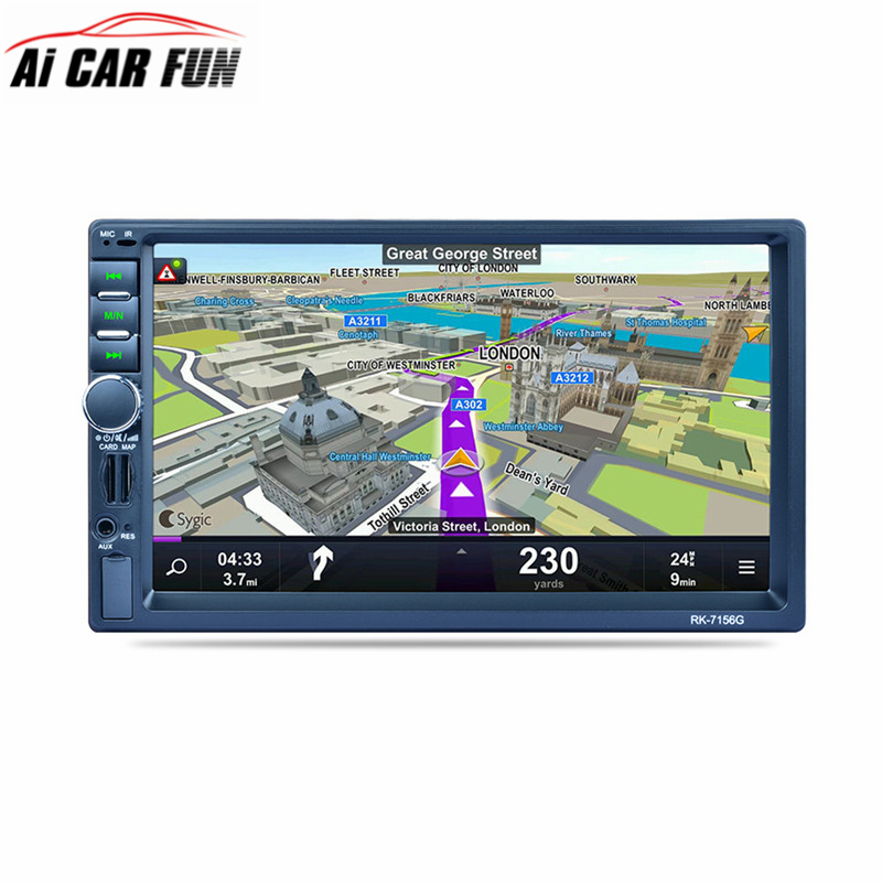 купить RK-7156G 2Din 7inch Bluetooth Car Radio FM/AM/RDS Radio GPS Navigation Car Multimedia Player Mobile Phone Function Car MP5 по цене 5275.93 рублей