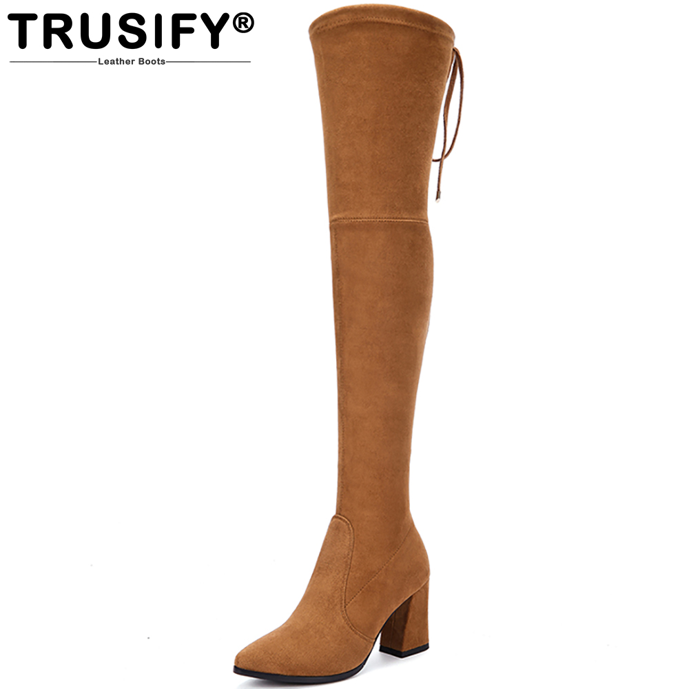 TRUSIFY 2018 Ohcapital Suede Over the Knee Knight boots Pointed Toe High Square heel Stretch boots Lace up Thigh High Boots