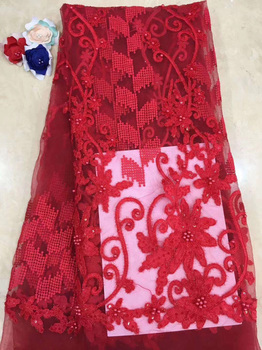 (5yards/pc) High quality French net lace fabric red color African tulle lace with beads and embroidery for party dress FZZ066