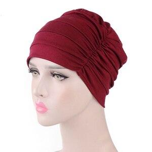 Image 5 - Женская индийская шляпа, новая мусульманская эластичная чалма, Кепка хиджаб, женская кепка для выпадения волос, повязка на голову, химиотерапия, Арабская шапочка, аксессуары