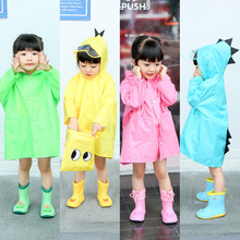 цены Cartoon Polyester Children Raincoat Cute Dinosaur Impermeable Kids Rain Coat Boys Girls Cloak Poncho Waterproof Baby Rain Jacket