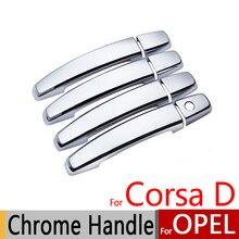 Для Opel Corsa D 2006- хромированные дверные ручки крышки отделка Набор Vauxhall OPC VXR 2008 2010 наклейки на автомобиль Стайлинг автомобиля