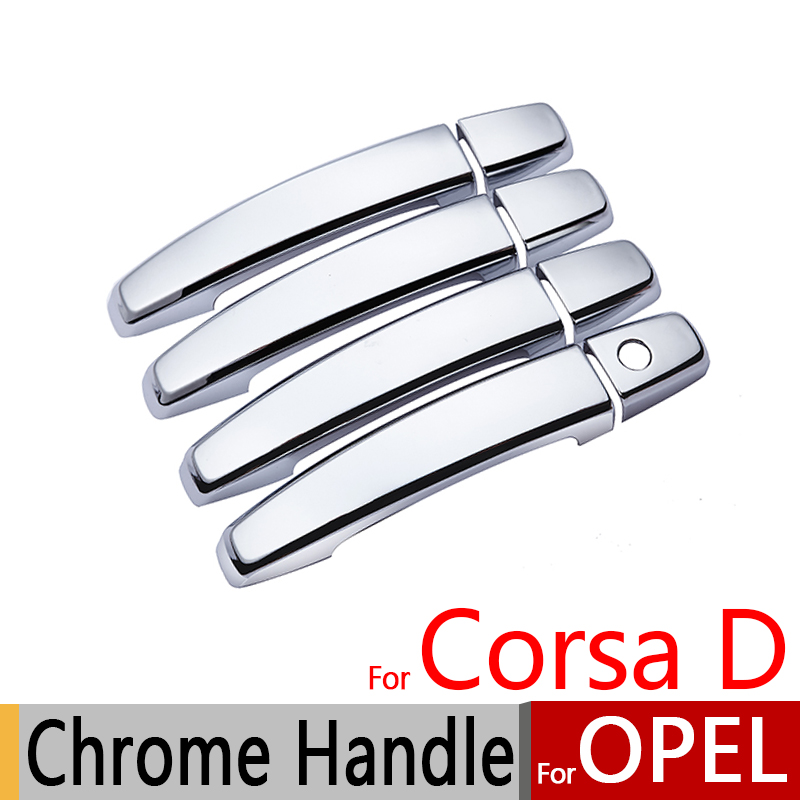 For Opel Corsa D 2006-2014 Chrome Door Handle Covers Trim Set Vauxhall OPC VXR 2008 2010 Car Accessories Stickers Car Styling