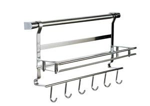 Image 1 - Edelstahl küche storage rack regal bad regal doppel schicht rack regal gewürz glas rack 1 schicht regal + 6 haken