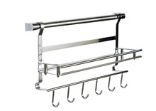 Stainless steel kitchen storage rack shelf bathroom shelf double layer rack shelf spice jar rack 1 layer shelf + 6 hook