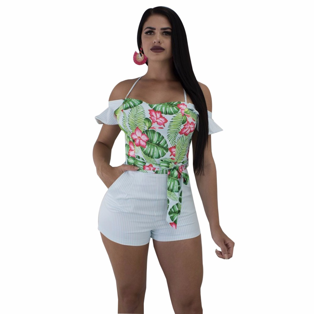 Adogirl 2018 Flower Prints Women Jumpsuits Sexy Strap Ruffles Bodysuits Casual Fresh Wear Playsuits Summer Rompers