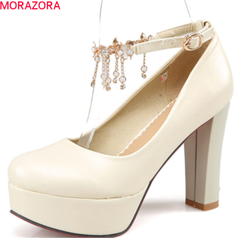 MORAZORA extreme high heels 2018 pumps women shoes with buckle platform shoes square heel round toe shallow women shoes цена