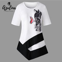 AZULINA Plus Size Cat Print Asymmetric T-Shirt Women Ladies Short Sleeves Long T Shirts Womens Tops Big Size Summer Casual Top