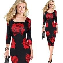 Для женщин элегантные красные розы с цветочным принтом цельнокроеное платье костюм Повседневное, платье подружки невесты, для матери свадебное платье-Карандаш Bodycon Вечеринка платье