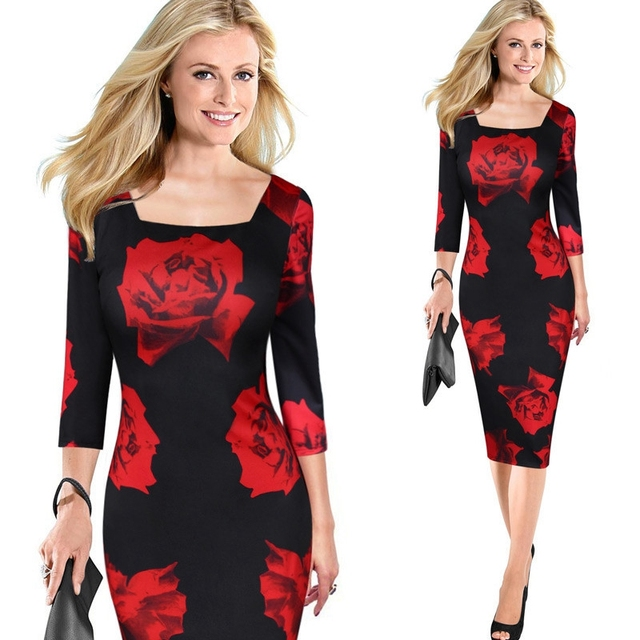 Women Elegant Red Rose flowers Printed One Piece Dress Suit Casual  Bridesmaid Mother of Bride Pencil Bodycon Evening Party Dress 245da13ee