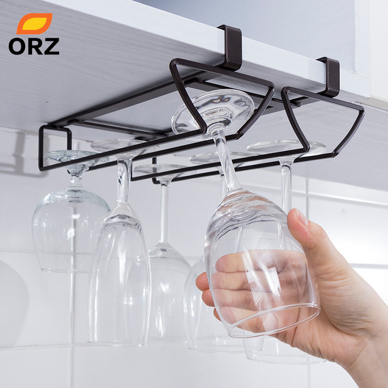 ORZ Hanging Wine Glass Holder Stemware Wine Goblet Rack Champagne Holder Under Cabinet Shelf Kitchen Organizer Bar Accessories