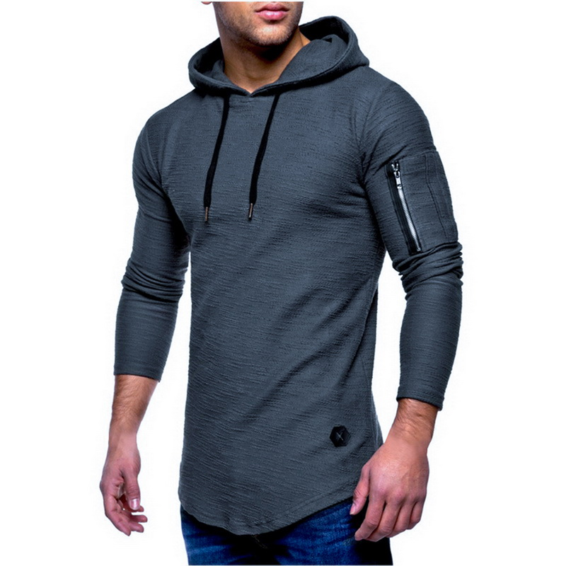 NIBESSER 2019 Brand Men Hoodies Fashion Long Sleeve Autumn And Winter Arm Zipper Hooded Solid Color Casual Sweatshirts Plus Size