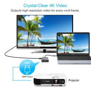 "Image 5 - USB סוג C כדי HDMI VGA Gigabit Ethernet Lan RJ45 מתאם עבור Macbook Air Pro 2018 סוג C USB C רכזת כרטיס קורא USB 3.0 יציאת פ""ד"