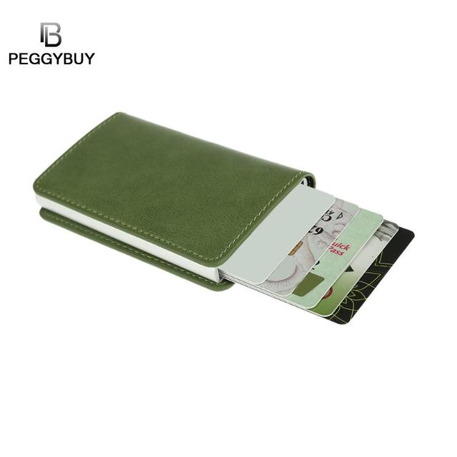 13ef6db5485 Metal Men Card Case RFID Aluminium Alloy Credit Card Holder Stainless PU Holder  Wallets Automatically Eject Antitheft Cards Box