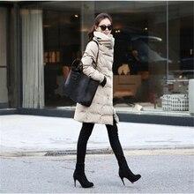 2016 Новая Мода Зимняя Куртка Женщины Тонкий Длинный Хлопок-ватник Верхняя Одежда Зимнее Пальто A956