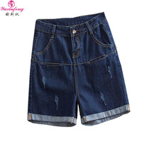 Yuxinfeng 2018 Summer Denim Shorts Women Plus Size High Waist Roll Up Casual Loose Hole Jeans