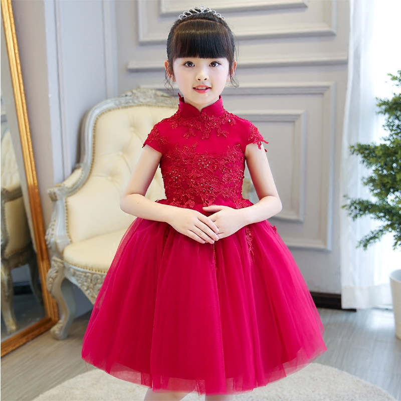 2017new elegant children girls red color wedding birthday for Wedding dresses color red