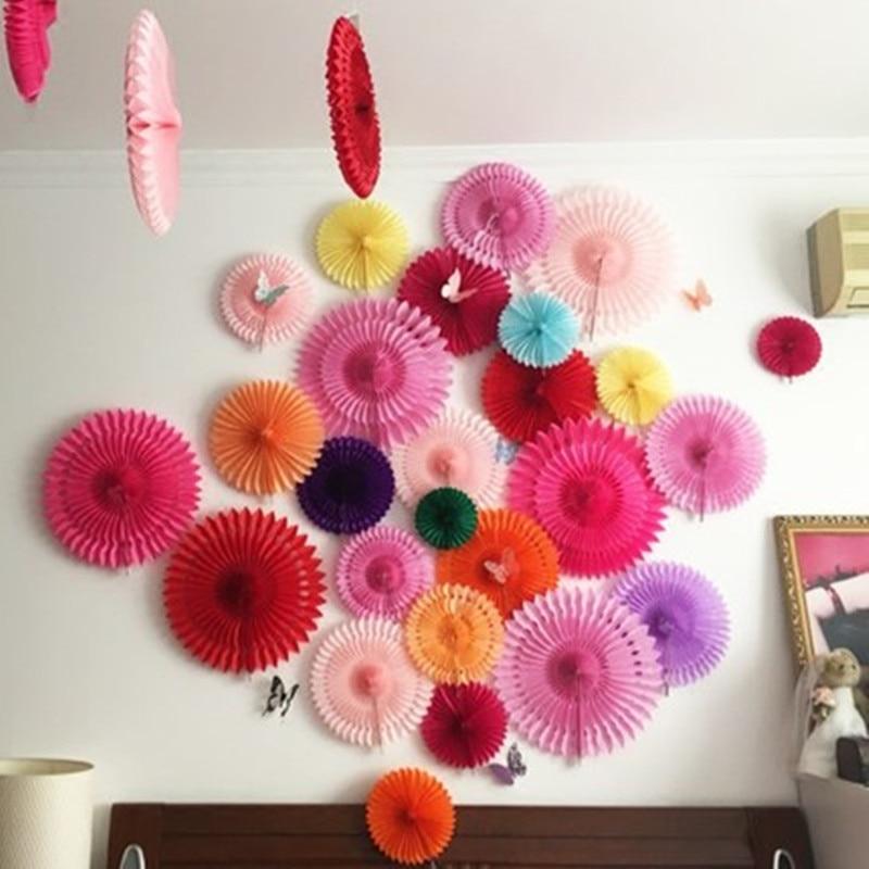 New 5pcs Tissue Paper Fan Diy Crafts Hanging Wedding: 5Pcs/Lot 6/8/10/12inch Wholesale Tissue Paper Fans Hanging