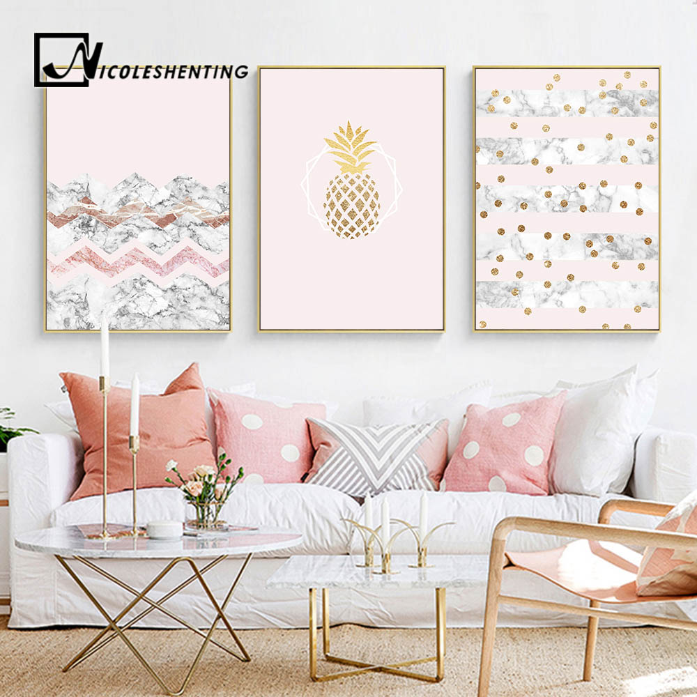 Marble Wall Paint : Aliexpress buy golden pineapple marble wall art