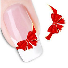 1sheets DIY Designs Women Elegant Nail Art Stickers Decals Red Butterfly Tie Decals Patch French Tip Care Styling Tool LASTZ-034(China)